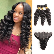 10A Remy Loose Wave Bundles With Frontal Human Hair 3/4 Bundles With Closure Frontal 13X4 Lace Frontal With Bundles 8 30inch