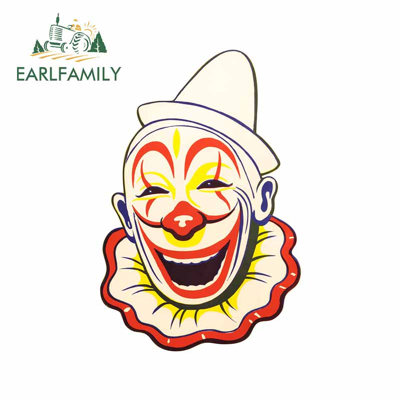 EARLFAMILY 13cm x 8.9cm for Creepy Clown Face Window Car Sticker Laptop Surfboard Occlusion Scratch Trunk Cartoon Trunk Decal image