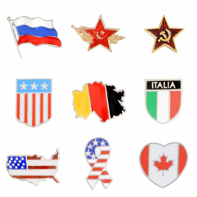 Kartun Nasional Bendera Seri Enamel Pin Fashion Bros Lencana Tas Aksesoris Pakaian Kerah Pin Perhiasan Hadiah untuk Teman