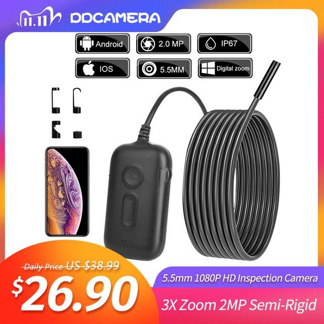 5.5ミリメートル1080 1080p hd検査カメラ3Xズームワイヤレス内視鏡カメラを検査するための2MP半剛性ヘビカメラエンジン下水道