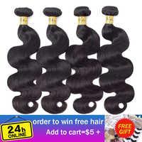 VSHOW Peruvain Körper Welle Menschliches Haar Bundles Natürliche Farbe 3 oder 4 Bundles Deal High Verhältnis Remy Menschliches Haar Extensions