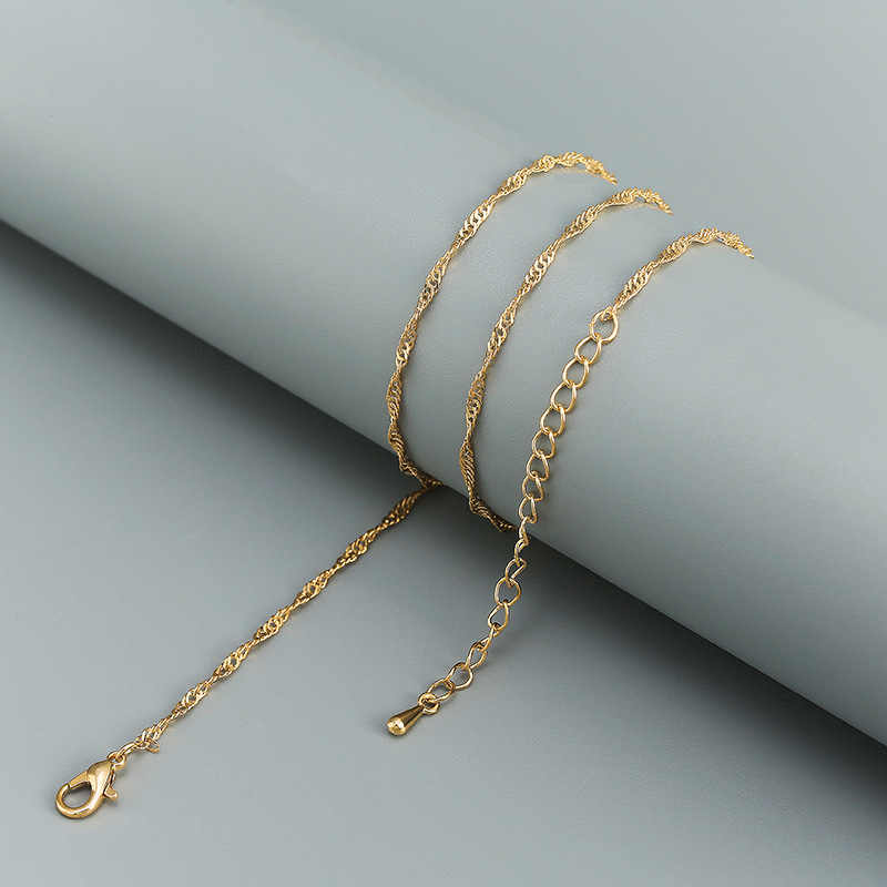 Gold Silver Chain Necklace with Lobster Clasps fit Men Women DIY Water Wave Chain Pendant Chain Hand Accessories jewelle