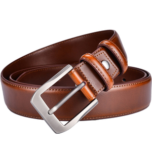 Image 5 - Mens Genuine Leather Dress Belt Classic Stitched Design 38mm ALL LEATHER Regular Big and Tall Sizes