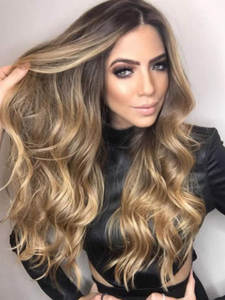 Synthetic Wigs Natural-Hair Middle-Part Heat-Resistant-Fiber Wavy Brown Long-Water Ombre