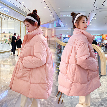 2020 Winter Jacket Women Stand Collar Thick Warm Down Parka Oversized Loose  White Duck Down Jacket Female Bread Coat fashion winter snow cotton jacket women casual reflective thick warm short parker coat street loose hip hop stand collar jacket