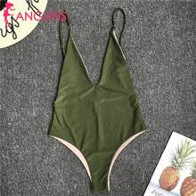 Women Spaghetti Strap Sleeveless Low Back Beach Swimwear Solid Spring, Summer, Autumn Bodysuit Casual, Swim,(China)