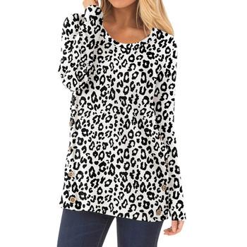 Moda nadruk wzór lamparta koszulka damska z długim rękawem O-neck guzik Pachwork topy Ropa estetyczna damska koszula Harajuku nieformalna tunika tanie i dobre opinie CN (pochodzenie) Wiosna jesień Poliester Pełna REGULAR Batik Drukuj Women Leopard Printed Long Sleeve O-Neck Button Pachwork Tops