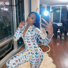 Simenual Butterfly Print Casual Rompers Womens Jumpsuit Long Sleeve Workout Active Wear Fashion Bodycon Fitness Sporty Jumpsuits