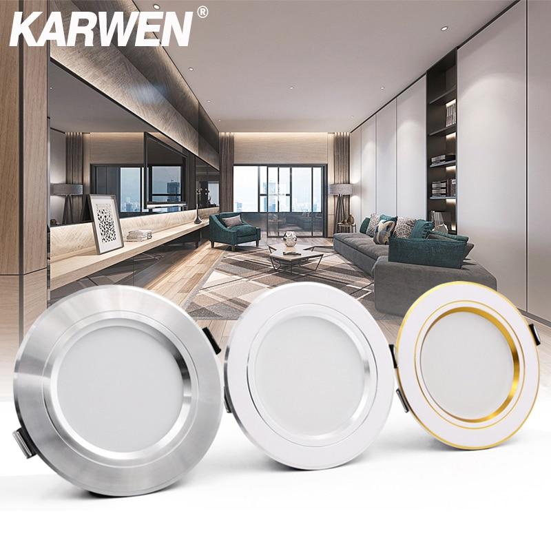 KARWEN LED Downlight Ceiling 5W 9W 12W 15W 18W Led Ceiling Lamp Gold/Silver/White Body AC 220V 230V 240V Led Light