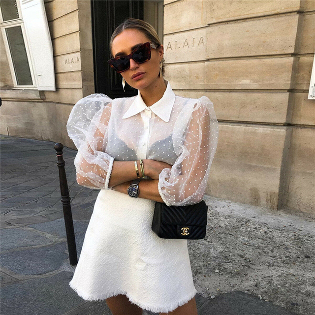 2019 Hot Sale White Transparent Sexy Women Hollow Sheer Mesh Puff Sleeve Blouse Lace Shirt Button Tops Perspective Female Shirt