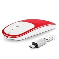 2.4G şarj edilebilir USB tip-c kablosuz fare gürültüsüz sessiz kırmızı