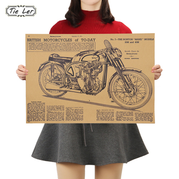 TIE LER Motorcycle Design Poster Cafe Bars Kitchen Decor Posters Adornment Vintage Poster Retro Kraft Paper Wall Stickers