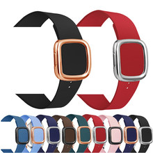 Leather loop Strap for apple watch band 44/40mm Modern buckle for applewatch sport loop 42/38mm Bracelet for iwatch serie 3 2 1(China)
