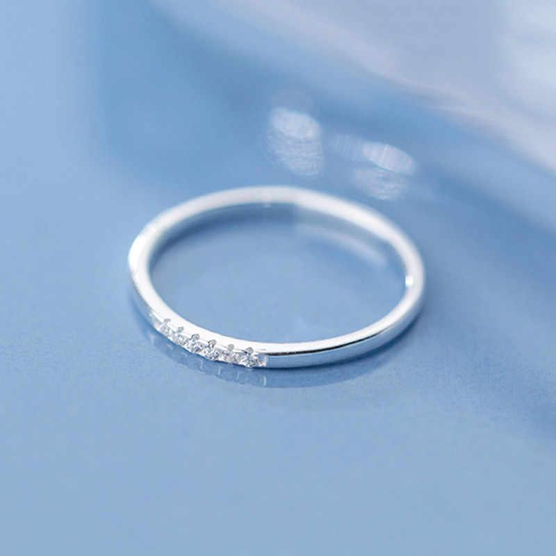 Inzatt Nyata 925 Sterling Silver Zircon Geometris Bulat Cincin untuk Wanita Perhiasan Minimalis Aksesoris Lucu Hadiah 2019