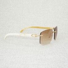 רטרו עץ Oversize משקפי שמש גברים טבעי שחור לבן באפלו הורן משקפי נטולי מסגרת עבור חיצוני קיץ Oculos Gafas