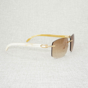 Image 1 - רטרו עץ Oversize משקפי שמש גברים טבעי שחור לבן באפלו הורן משקפי נטולי מסגרת עבור חיצוני קיץ Oculos Gafas