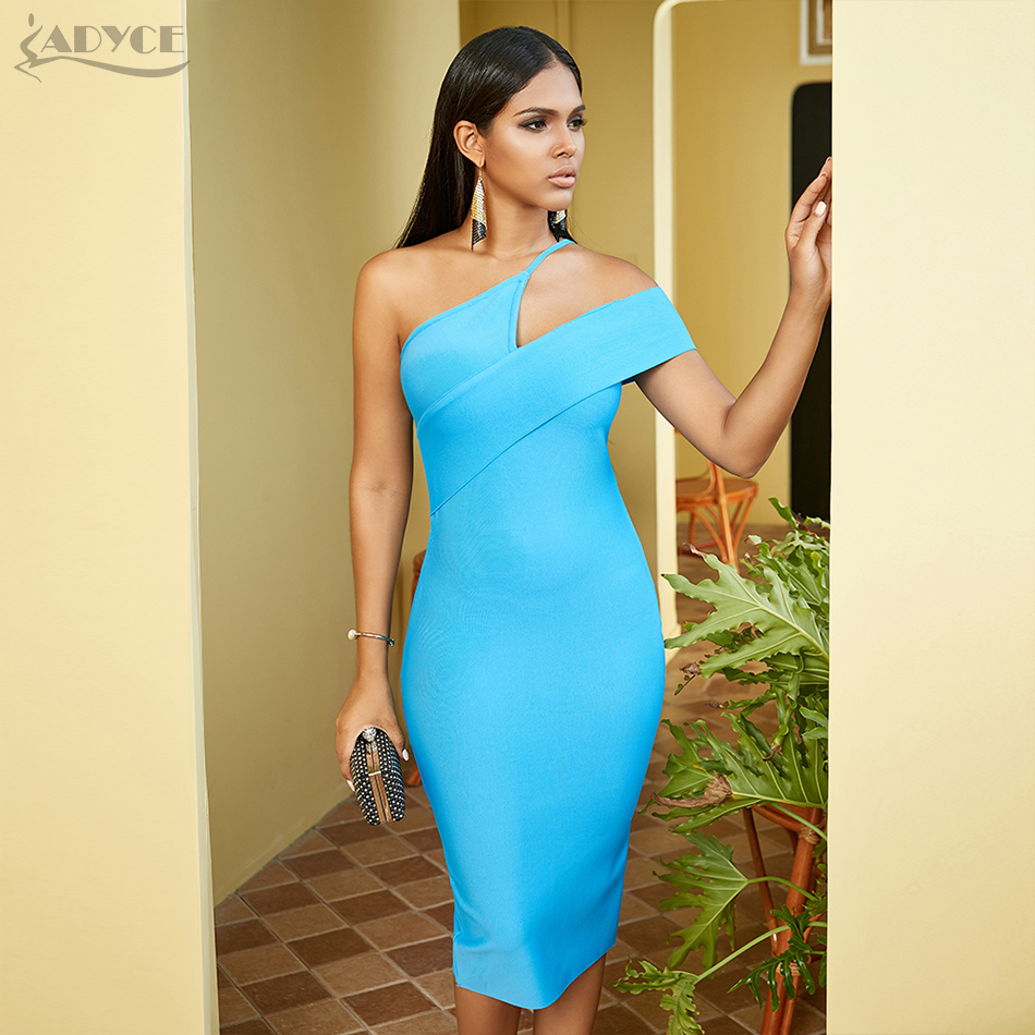 ADYCE 2020 New Arrival Summer Women One Shoulder Bodycon Celebrity Runway Party Dress Sexy  Sleeveless Strapless Midi Club Dress