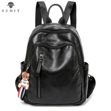 Women Backpack PU Leather Student School Bag Travel Bag 2019 Brand Backpack women Large Capacity Soft PU Backpack for girl brand