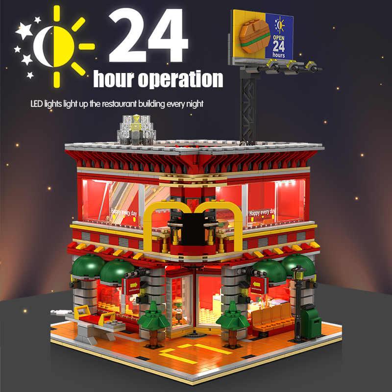 SEMBO 1729 Chiếc Thành Phố Hướng Phố 4 Trong 1 Đèn LED Nhà Hàng Kiến Trúc Nhà Xe Mô Hình Xe Tải Khối Xây Dựng Đồ Chơi kid