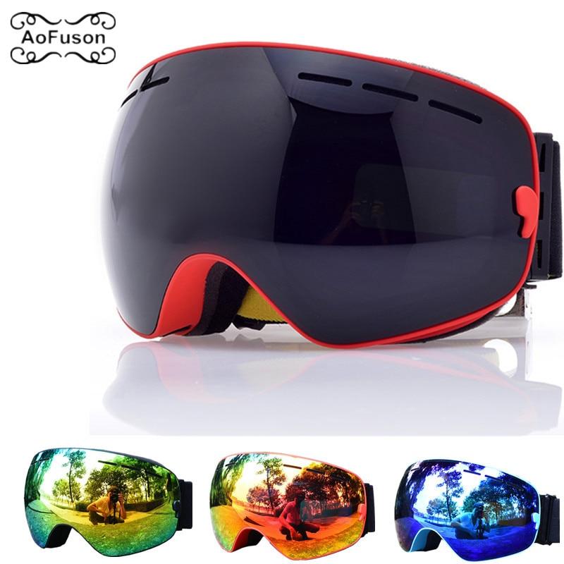 Snowboard Goggles, Ski Glasses Double Layers Anti-fog UV400 Lens Big Mask Men Women Snow Snowmobile Skiing Eyewear Skibril