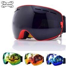 Лыжные очки, очки для сноуборда, двухслойные, противотуманные, UV400 линзы, большая маска для мужчин и женщин, зимние, снегоходные очки, лыжные очки
