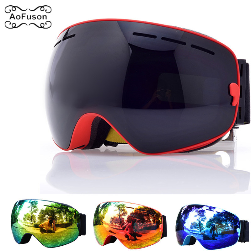 Snowboard Goggles, Ski Glasses Double Layers Anti-fog UV400 Lens Big Mask Men Women Snow Snowmobile Skiing Eyewear Skibril