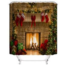 Aggcual 2020 gorąca sprzedaż boże narodzenie akcesoria do łazienki zasłona prysznicowa wodoodporna tkanina świąteczna dekorowana zasłona prysznicowa tło y32 tanie tanio CN (pochodzenie) Europa Zaopatrzony cartoon Poliester Zhejiang Christmas Shower Curtain Polyester Can Be Customized Processing