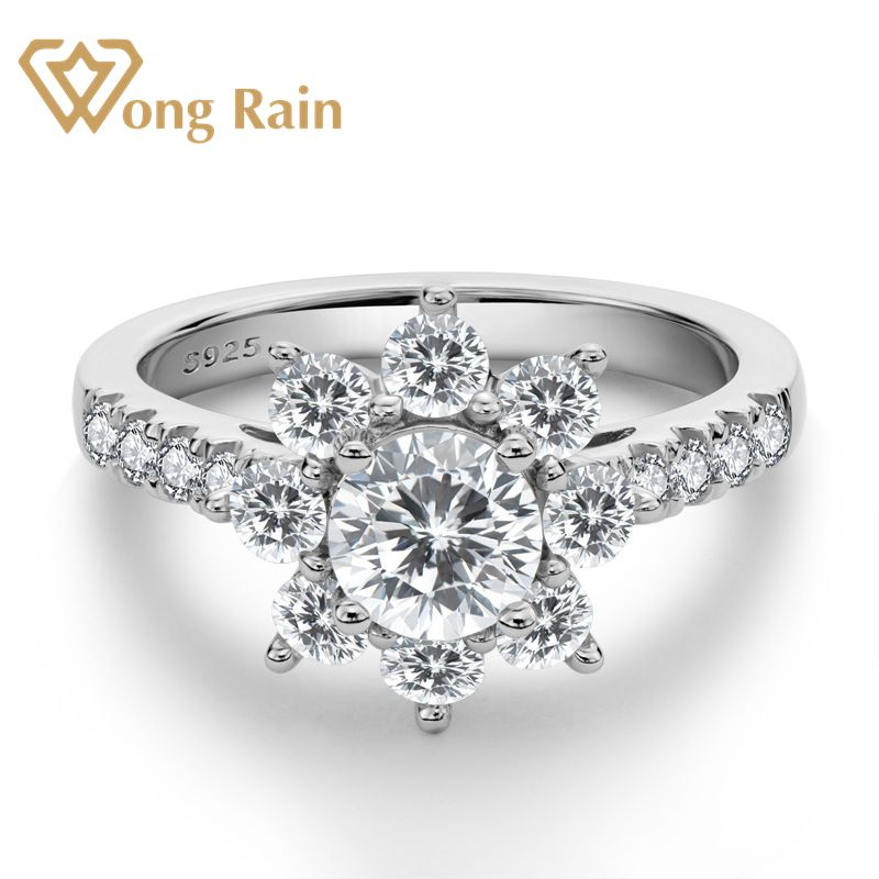 Wong Rain Trendy 925 Sterling Silver Created Moissanite Gemstone Diamonds Wedding Engagement Flower Ring Fine Jewelry Wholesale