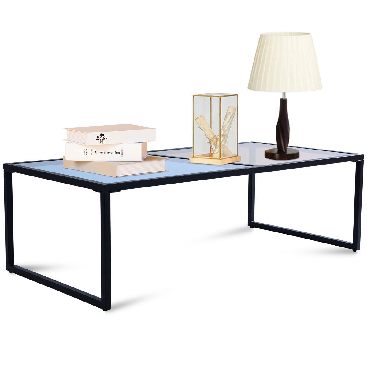 Costway Rectangular Coffee Table Tempered Glass Top Metal Frame Living Room Furniture Aliexpress