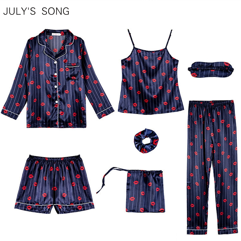 JULY'S SONG Faux Silk Stain Pajamas Sets 7 Pieces Sexy Sling And Shorts Sweet Strawberry Printed Long Sleeve Sleepwear Homewear
