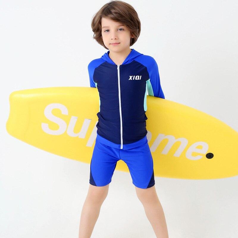 17 New Style KID'S Swimwear BOY'S Hooded Sports Bathing Suit Two-Piece Shorts Long Sleeve BOY'S Swimsuit