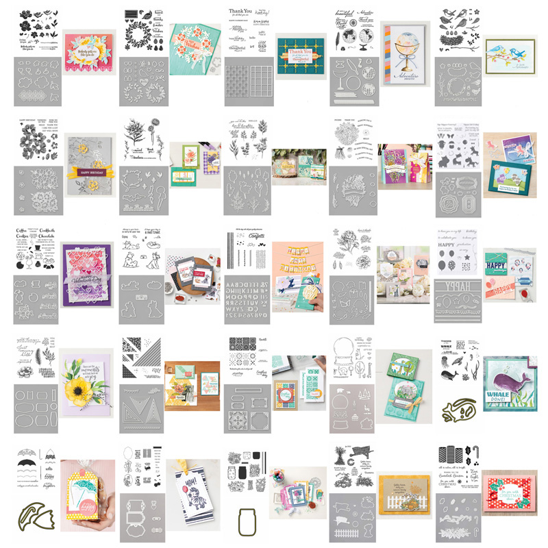 2pcs/lot Alphabet Dies Stitched Triangles Hippo Wreath Blooms Clear Stamp & Dies for DIY Scrapbooking Photo Album Paper Craft