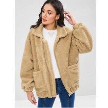 Teddy Bear Coat Womens Coats Winter Long Sleeve Zipper Plush Solid Color Pocket Women Clothes Faux Fur