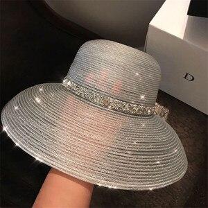 Chapéu de palha metalica de verão feminino aba larga proteção solar praia chapéu 2020 novo brilhante floppy dobrável sol panamá bonés para senhoras
