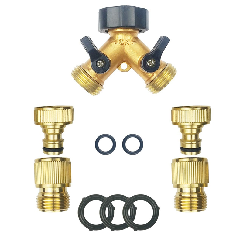 Hot Brass Garden Hose Quick Connect Fittings(2 Male 2 Female)+Brass Hose Y Splitter(2 Way)+5 Extra Washers 3/4 Inch