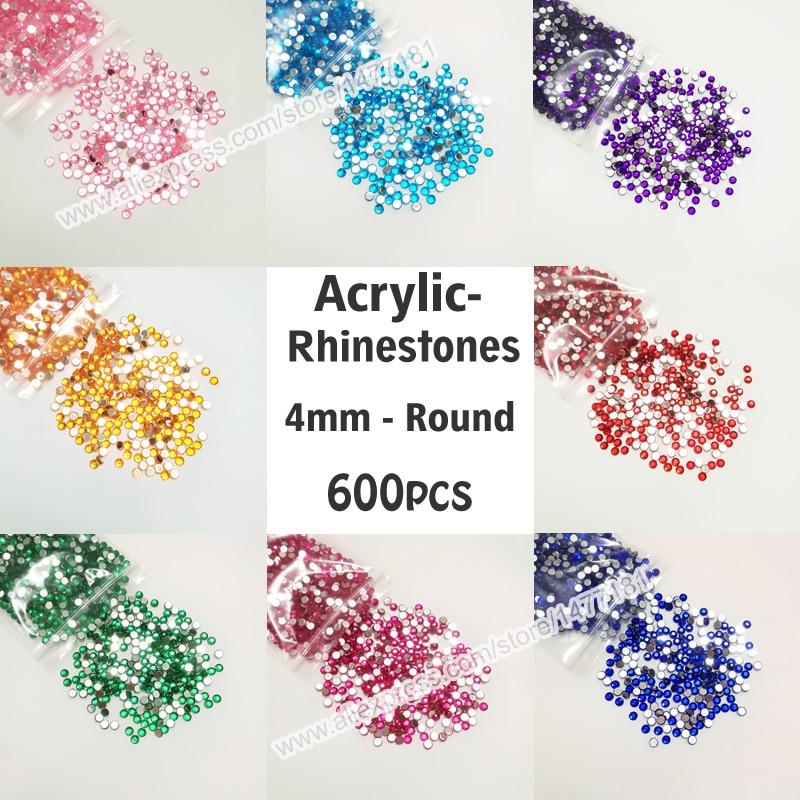 CRYSTAL 4mm ACRYLIC FLAT BACK RHINESTONES DIAMANTE GEMS FOR NAIL ART CRAFTS