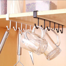Home Seamless Kitchen Storage Rack Nail-free Hanging Wrought Iron Wardrobe Hook Kitchen Organizer(China)
