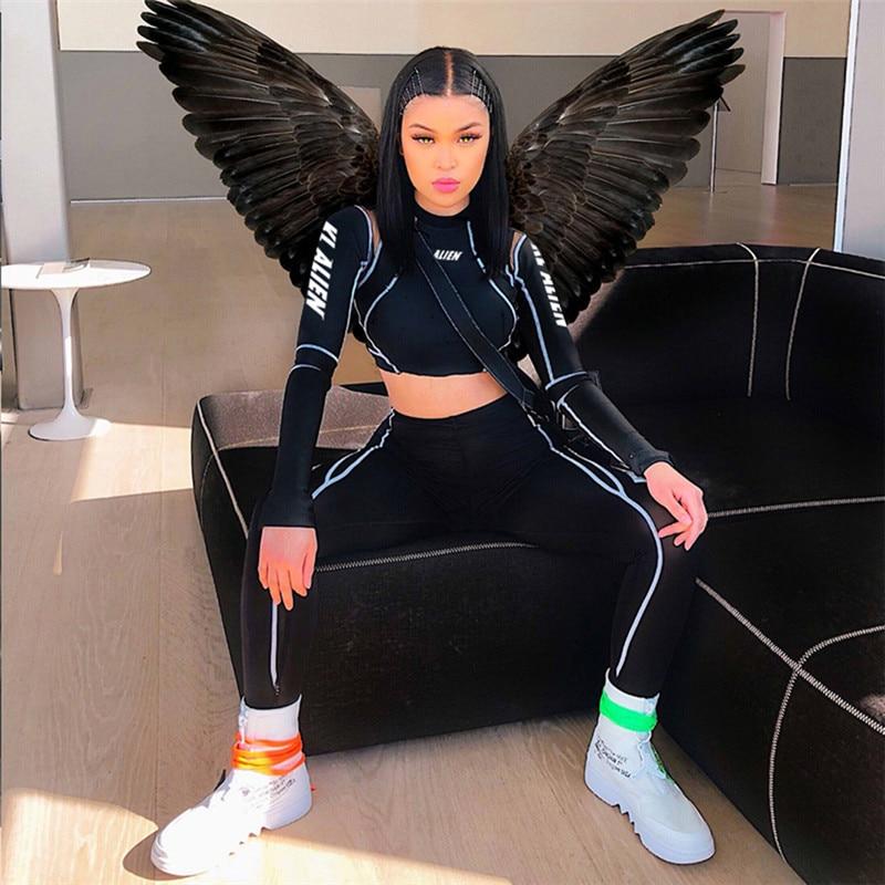 Adogirl Letters Print Sheer Mesh Patchwork Women Tracksuit Long Sleeve T Shirt Crop Top Fitness Leggings Female Sportswear Suit