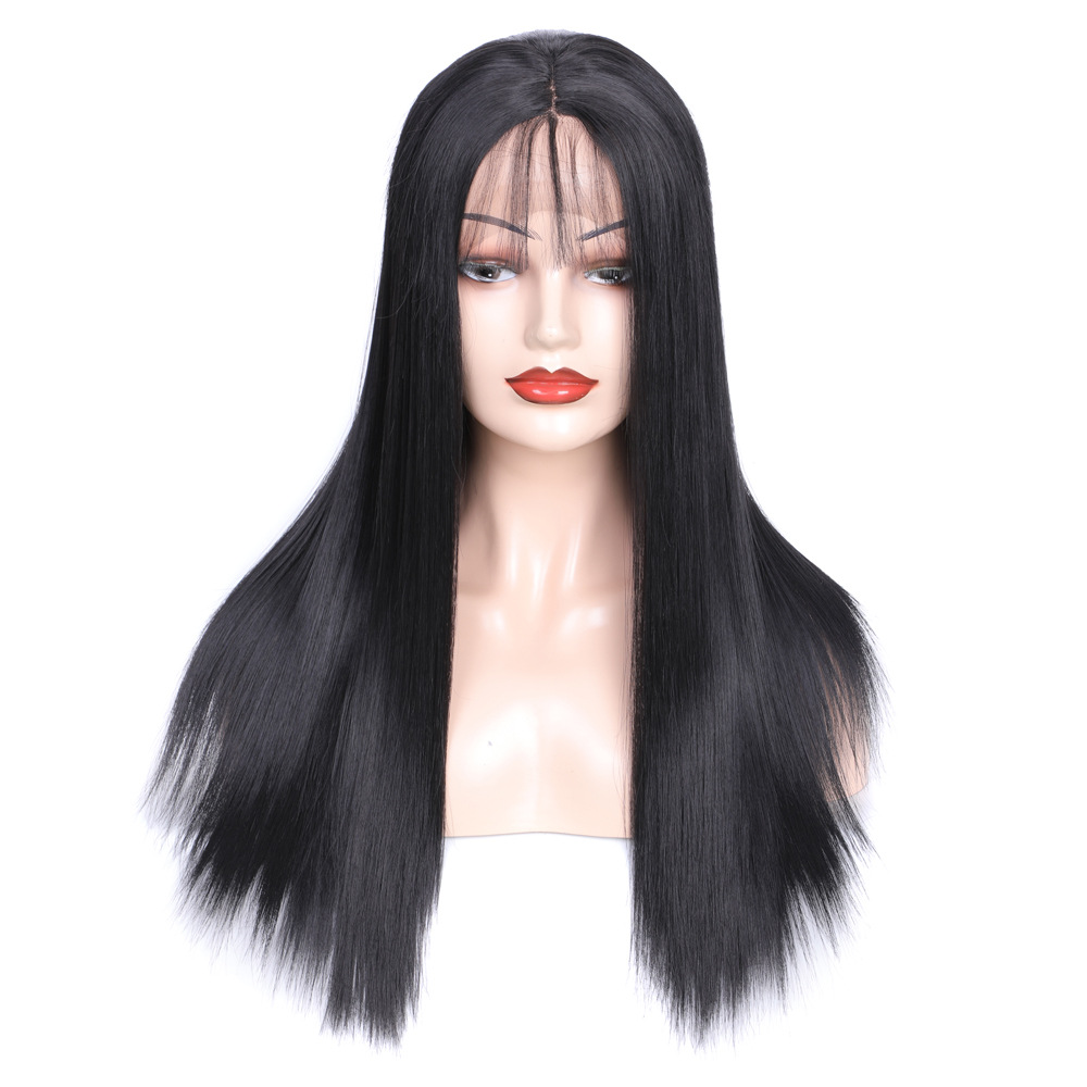 "ZM 14""-26"" Black High Quality Synthetic Wigs for Black Women Silky Straight Synthetic Lace Front Wigs With Bangs Heat Resistant"