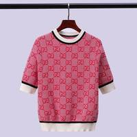 2020 wool knit top women's wool top woollen sweater summer round neck short sleeve t shirt women