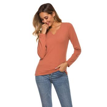 2020 wiosna w nowym stylu długa koszula wysokiej jakości Solid Color V-neck długi sweter z rękawem koszula oddychająca tanie i dobre opinie Poliester Stałe Pełna Na co dzień Anty-pilling Anti-shrink Natural color
