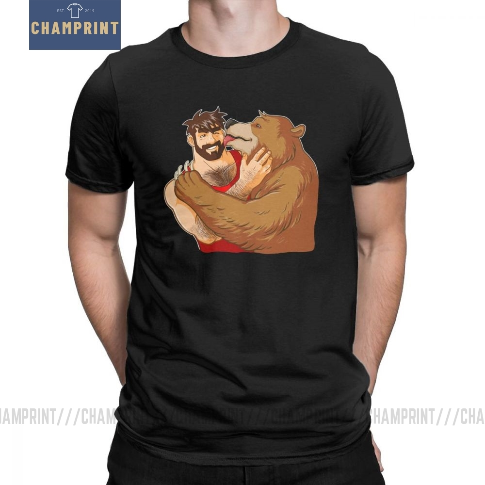 Bear Kiss No Background Funny T Shirt For Men Bobo Bear Gay Art Pride LGBT Short Sleeve Tops Tees 100% Cotton Crew Neck T-Shirt