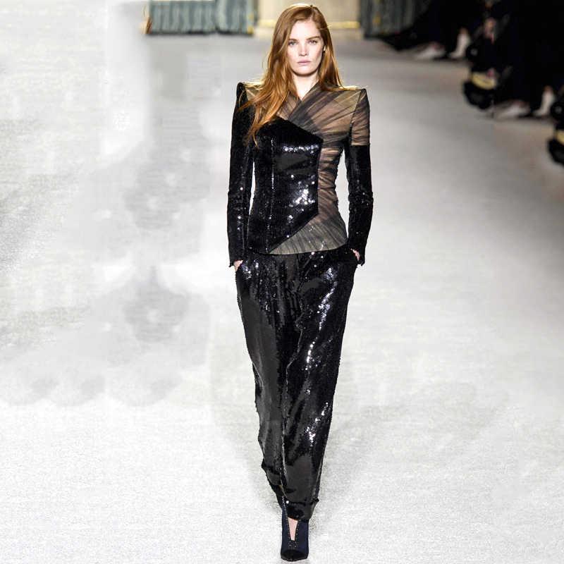 Bqueen 2019 ファッション V ネックのセクシーなブレザー正式な女性エレガントなスキニーアウト中空分割黒、白 2 個パンツスーツセット
