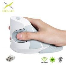 Delux M618GX Mouse verticale Wireless di colore bianco 6 pulsanti Mouse ergonomico ottico da 2.4Ghz con poggiapolsi per PC Laptop