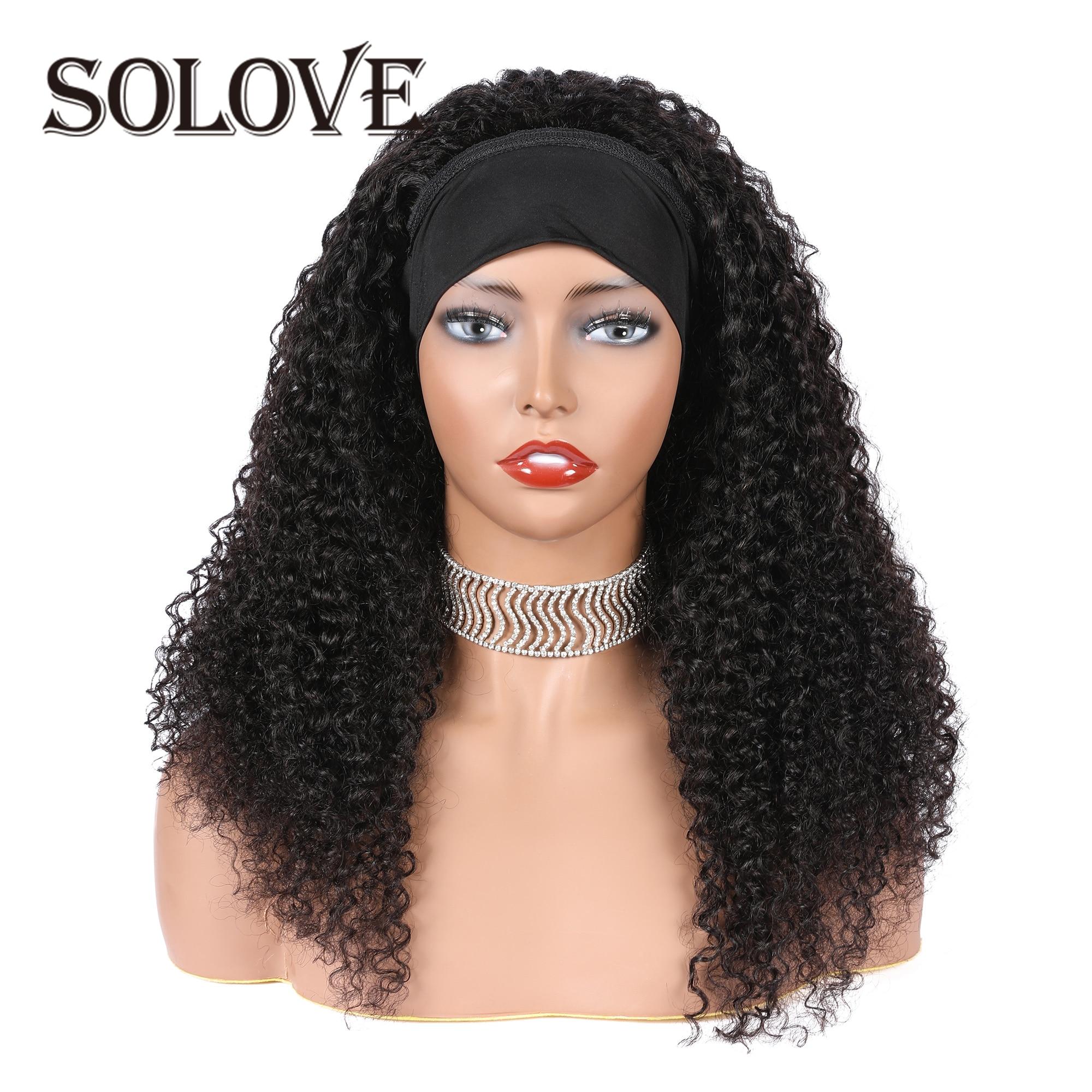 Kinky Curly Headband Scarf Wig Glueless Human Hair Wigs for Black Women Headband Wig With Brazilian Virgin Hair