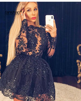 Illusion Black Cocktail Dresses A line O neck Long Sleeves Appliques Lace Party Plus Size Homecoming Dress Custom Made