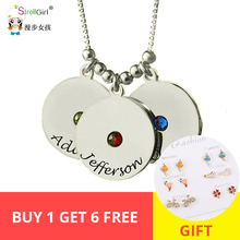 StrollGirl Personalized Customizable Disc and Birthstone Necklace 925 Silver Necklaces & Pendants For Women Jewelry Gifts New