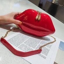2019 new hard shell bag red mouth PVC small square bag personality goddess shoulder Messenger bag