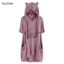 TELOTUNY Plus Size Short Sleeve Print Women Blouse Cat Ear Hooded Pockets 2019 Summer Causal Ladies Fashion Tops T-Shirt 19L0723(China)
