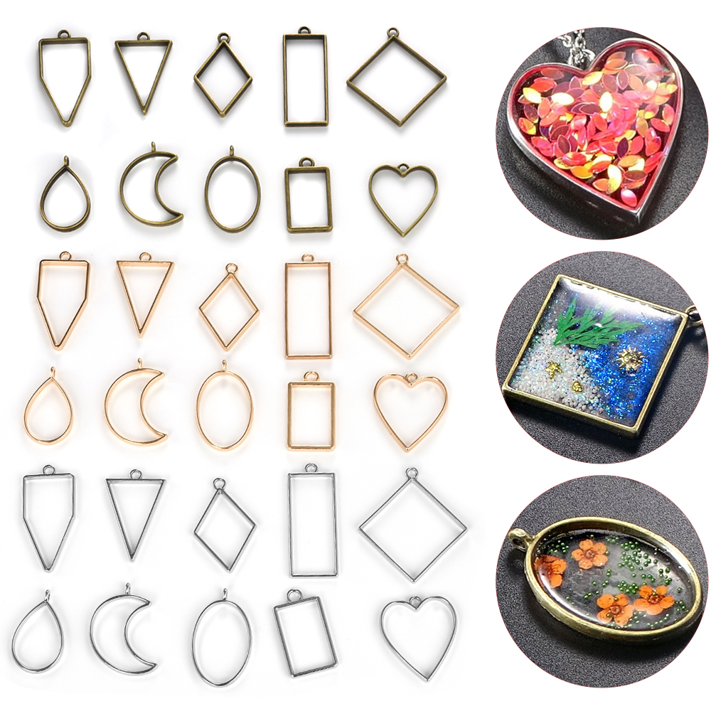 10pcs Epoxy Resin Jewelry Making Open Base Settings Open Bezel Pendants Charms Geometric Shape Pressed Flower Mold
